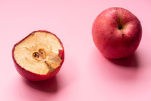 Fresh Apple And Slice Of Rotten Unhealthy Apple Fruits.