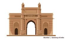 Gateway Of India, Mumbai Bombay, Famous Historical Icon Vector