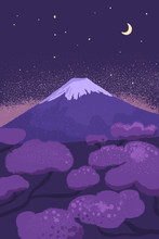 Fuji Mountain At Night With St...