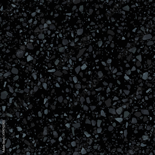 Black terrazzo flooring seamless texture. Realistic vector pattern of dark mosaic floor with natural stones, granite, marble, quartz, concrete. Classic Italian floor. Realistic repeatable design