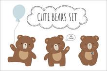 Set Of Illustrations Of Cute Cartoon Bears