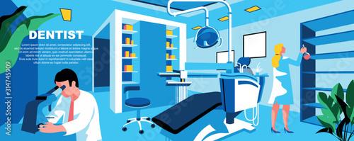 Fotografia Dentist flat vector landing page template