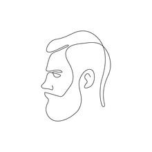 One Line Bearded Man Head Desi...