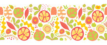Summer Fruits And Leaves Seaml...