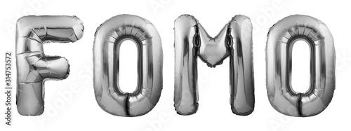 Social media acronym FOMO for Fear Of Missing Out made of black inflatable balloons isolated on white background Canvas Print