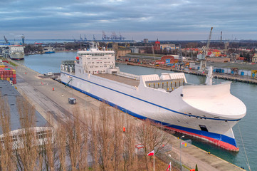 cargo ship in port gdansk from above