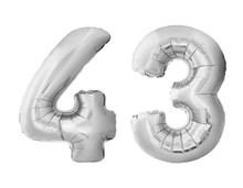 Number 43 Forty Three Made Of Silver Inflatable Balloons Isolated On White Background. Chrome Silver Helium Balloons Forming 43 Forty Three Number
