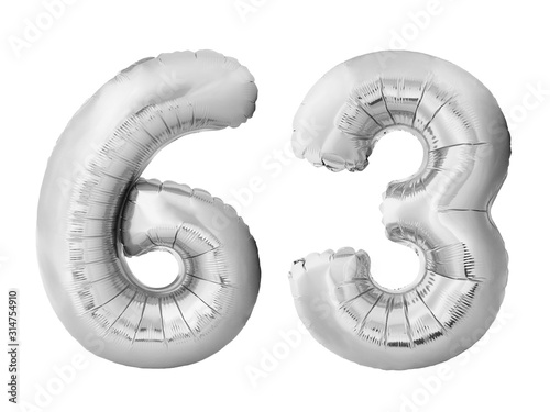 Tela  Number 63 sixty three made of silver inflatable balloons isolated on white background