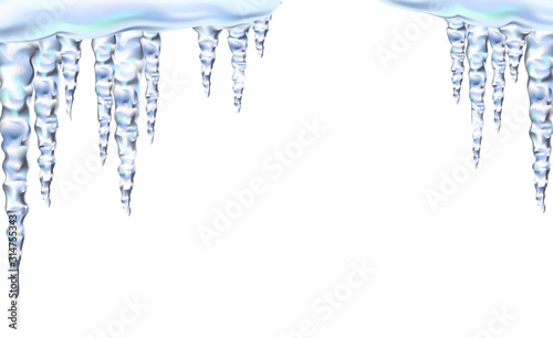 Icicles in vector shiny and glass hanging in winter and spring, snowdrift, clipart for your design Wallpaper Mural