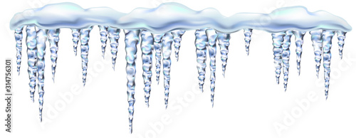 Cuadros en Lienzo Icicles shiny and glass hanging in winter and spring, snowdrift, clipart for your design