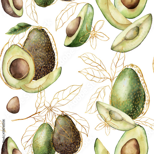 Photo Watercolor golden seamless pattern with linear avocado and leaves