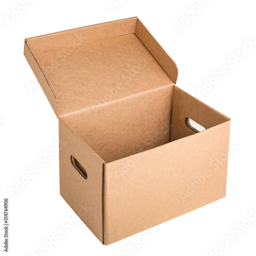 White open archive cardboard box with handles isolated on white background Canvas Print