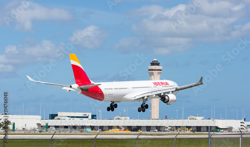 miami usa november 1 2015 an iberia airbus 330 300 landing at miami international airport iberia is the flag carrier and the largest airline of spain buy this stock photo and fotolia com