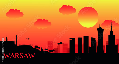 Panorama of Warsaw on a dark background during sunset. Vector illustration depicting the Palace of Culture, stadium, royal castle and skyscrapers in Warsaw. Vector illustration.