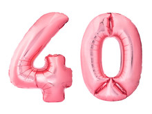 Number 40 Forty Made Of Rose Gold Inflatable Balloons Isolated On White Background. Pink Helium Balloons Forming 40 Forty Number. Discount And Sale Or Birthday Concept