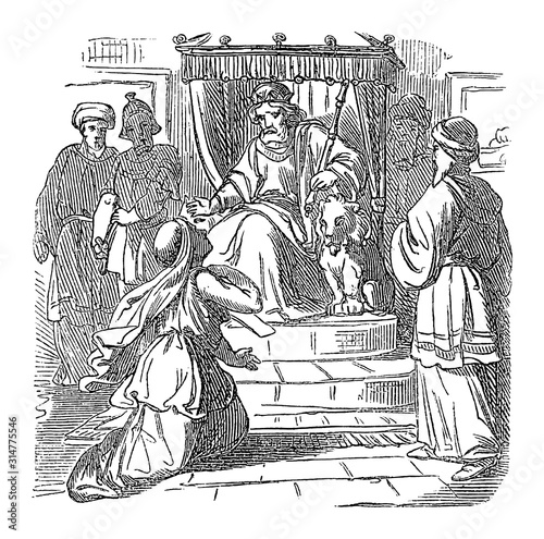 Vintage drawing or engraving of biblical story of Esther standing with Mordecai in front of throne of Persian king Ahausuerus or Xerxes Canvas Print