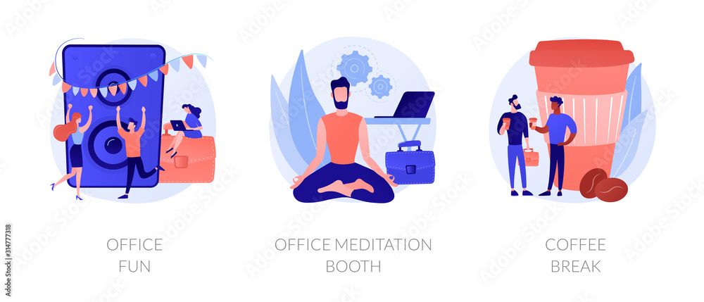 Fototapeta Stress relief web icons cartoon set. Employees characters at corporate party. Office fun, office meditation booth, coffee break metaphors. Vector isolated concept metaphor illustrations