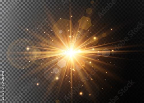 Obraz Abstract stylish light effect on a black background. Gold glowing neon line. Golden luminous dust and glares. Flash Light. luminous trail. Vector illustration. - fototapety do salonu