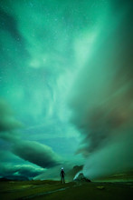 Aurora Borealis (Northern Lights) Above Geothermal Volcanic Vents In Hveravellir