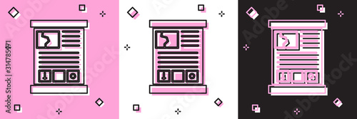 Photo Set Game guide icon isolated on pink and white, black background