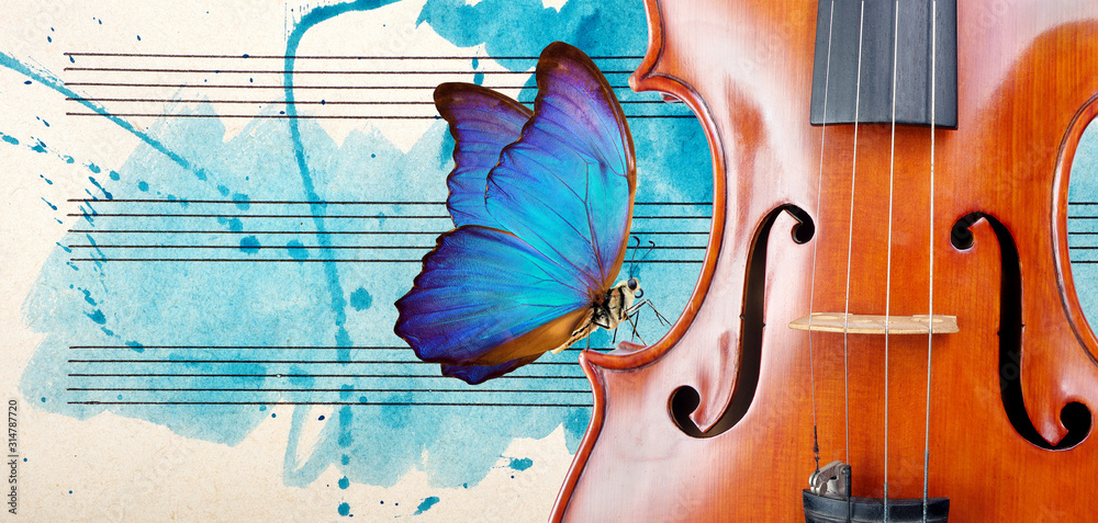 Fototapeta Butterfly, violin and notes. Blue morpho butterfly and violin. Melody concept. Photo of old music sheet in blue watercolor paint. Classical music concept. Violin close up. copy spaces