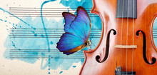 Butterfly, Violin And Notes. Blue Morpho Butterfly And Violin. Melody Concept. Photo Of Old Music Sheet In Blue Watercolor Paint. Classical Music Concept. Violin Close Up. Copy Spaces