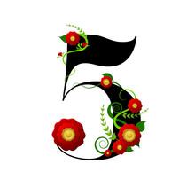 Chiffre Floral Numéro 5 (cin