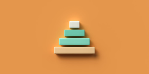 blocks formed as a pyramid on colorful background symbolizing a hierarchy - 3D rendered illustration