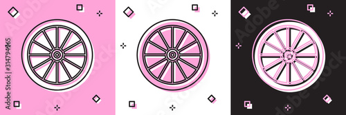 Fotografía Set Car wheel icon isolated on pink and white, black background