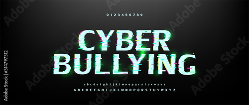 Fotografie, Obraz Cyber bullying, Letters font and number design distorted glitch style