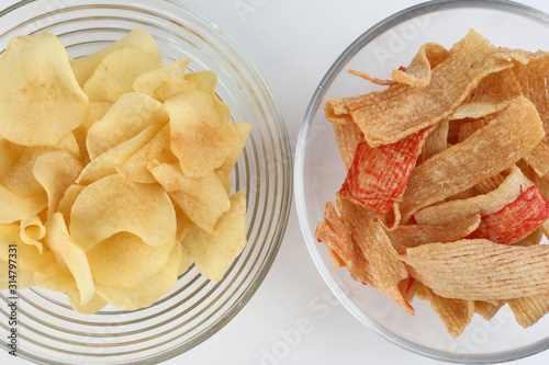 crab chips snack and arrowhead chips traditional for Chinese new year Wallpaper Mural