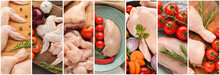 Collage With Raw Chicken Meat ...