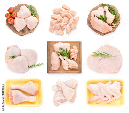 Obraz Collage with raw chicken meat on white background - fototapety do salonu
