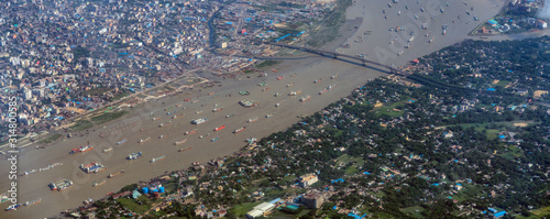 Aerial view of karnaphuli river at Chittagong city, Bangladesh Fototapete