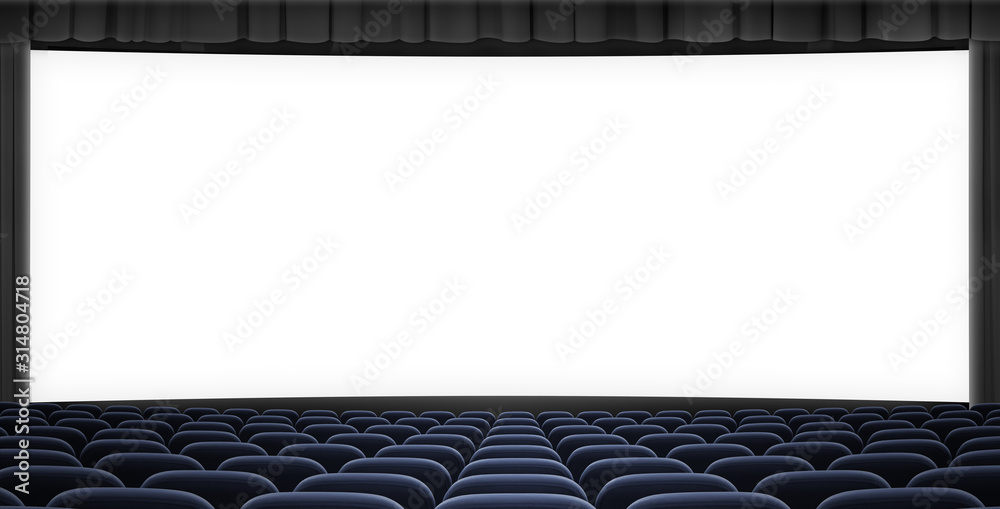 cinema big screen with black curtain frame and blue seats 3d illustration