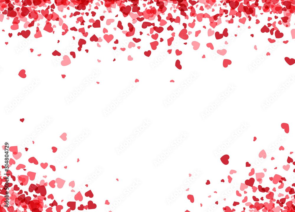 Fototapeta Love valentine's background with pink falling hearts over white.