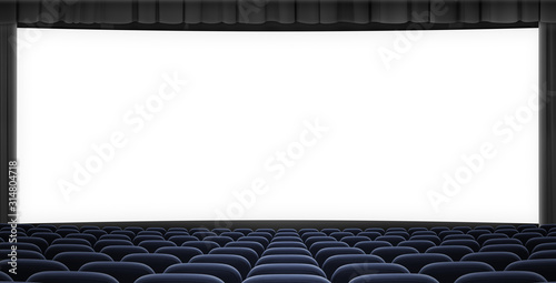 cinema big screen with black curtain frame and blue seats 3d illustration Canvas-taulu