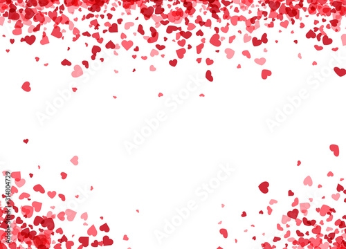 Fotografiet Love valentine's background with pink falling hearts over white.