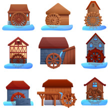 Water Mill Icons Set. Cartoon ...