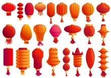 Chinese Lantern Icons Set. Car...