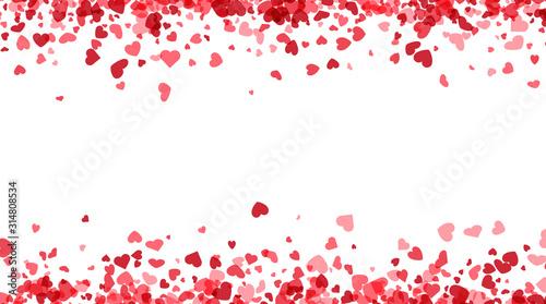 Fototapeta Love valentine's background with pink falling hearts over white. obraz