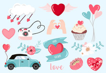 Cute Object Valentine Collection With Flower,car,cupcake.Vector Illustration For Icon,logo,sticker,printable