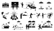 Alien UFO Invasion On Human In Planet Earth. Vector Illustration Of Alien Abduct Human And Animals For Experiment. Invader Killing People And Destroy Cities. Soldier Retaliate With War Against Alien.