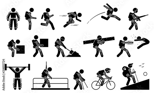 Human wearing futuristic exoskeleton body for bionic power stick figure pictogram icons Canvas Print