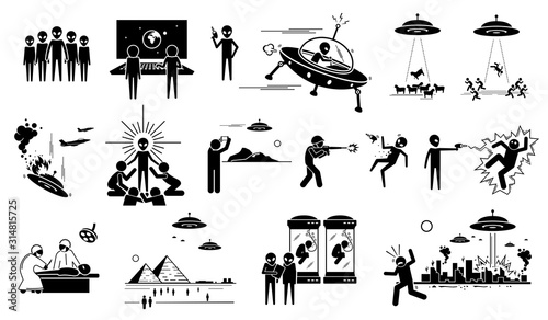 Alien UFO invasion on human in planet Earth Wallpaper Mural