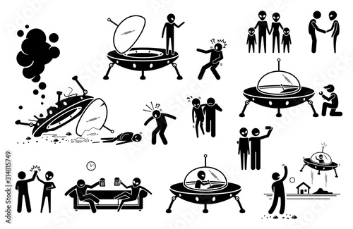 Alien UFO and human first contact and become friend Canvas Print