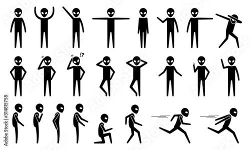 Fototapeta Basic alien UFO body poses and postures stick figure pictogram icons