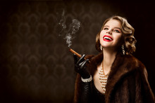 Woman Smoking Cigar, Fashion M...