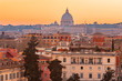 View of sunset city Rome from Castel Sant Angelo, Saint Peters Square in Vatican