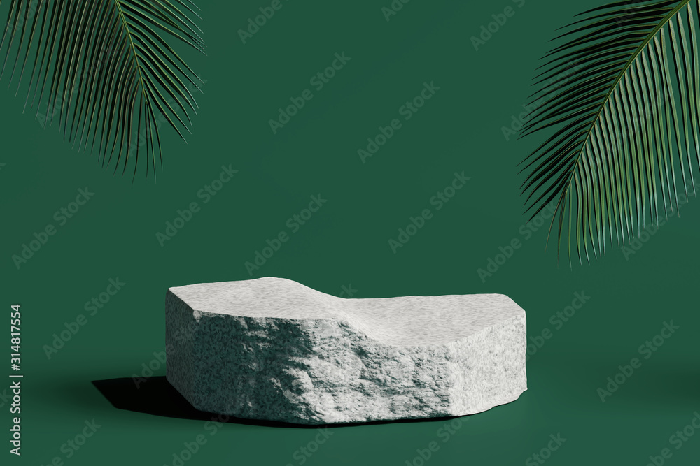 Fototapeta Stone podium product with tropical leaves on green background. 3d rendering